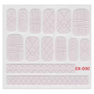 🚚 《Dear34》立體毛線指甲貼紙(6.4×6.6CM)EX-030粉紅格紋不規則線條