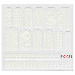 🚚 《Dear34》立體毛線指甲貼紙(6.4×6.6CM)EX-031白色