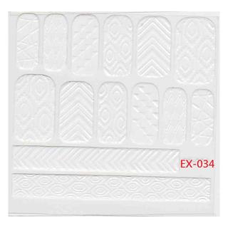 🚚 《Dear34》立體毛線指甲貼紙(6.4×6.6CM)EX-034白色幾何圖形