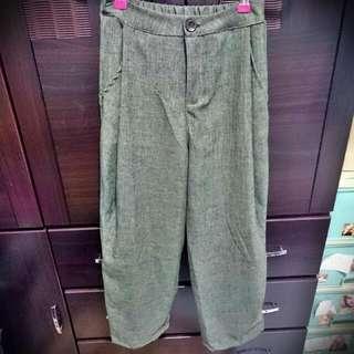 °°全新°° 今年流行必備-棉麻寬褲(綠)