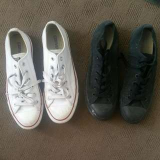Converse Shoes Black And White Leather