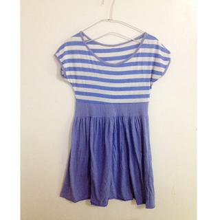 度假休閒ONE PIECE 藍色條紋短袖圓領洋裝