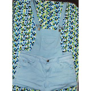 水藍可拆  吊帶短褲M