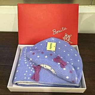 ✨全新✨Bonita針織貝蕾帽+圍巾組(附盒子)