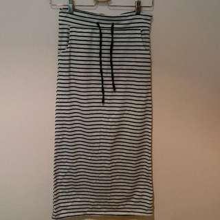 [全新] 黑白條紋貼身長裙