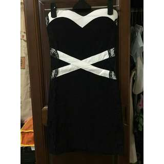 氣質蕾絲邊黑白小禮服
