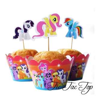 12pcs My Little Pony Cupcake Wrappers + Toppers