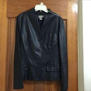 二手名牌黑色真皮西裝外套款皮衣