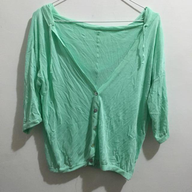 薄荷綠針織七分小外套