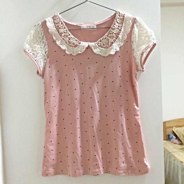 (夏出清)粉色蕾絲袖點點棉質上衣