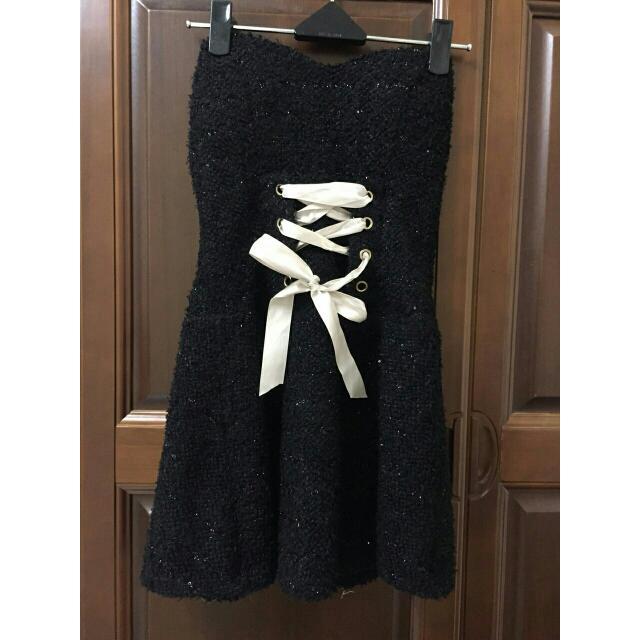黑色金絲綁帶小禮服
