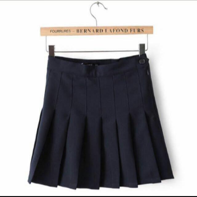 💋韓版黑百摺裙