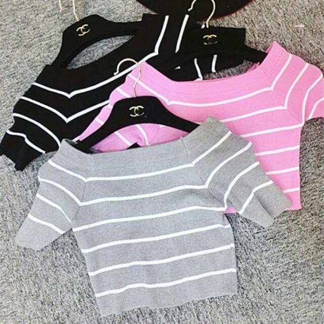 (待匯)🎀 韓版甜美 🎀 一字領短版條紋針織短衣