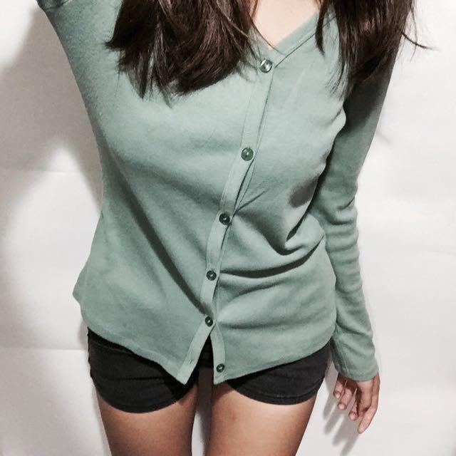 長袖薄外套/淺綠色/合身版型/lative/二手