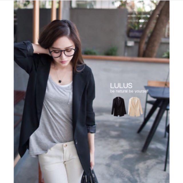 LULUS 大方單扣墊肩質感西裝外套*黑色