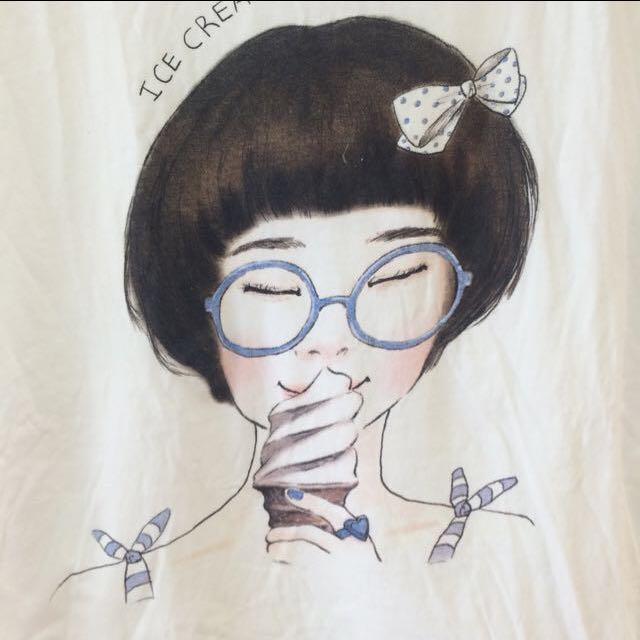 可愛女孩綁帶棉T