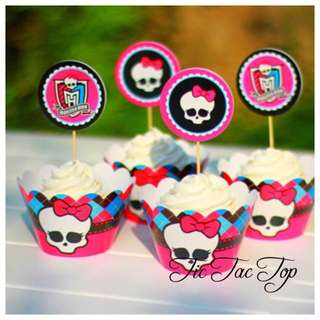 12pcs Monster High Cupcake Wrappers + Toppers