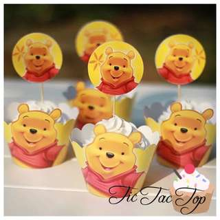 12pcs Winnie The Pooh Cupcake Wrappers + Toppers