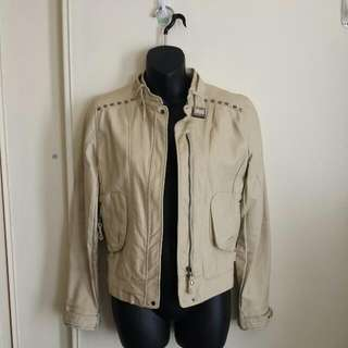 Cream Faux Leather Jacket