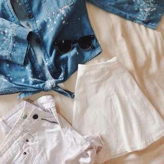 Denim Shorts & Shirt