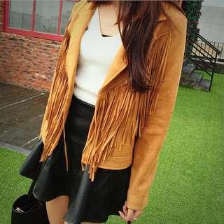 韓版 夾克外套短版仿麂皮流蘇翻領歐美街頭風