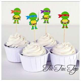 12 TMNT Ninja Turtles Cupcake Topper Picks for Party