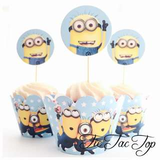 12 Minions Despicable Me Cupcake Toppers + Wrappers