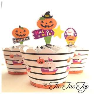 12 Halloween Cupcake Wrappers + Toppers