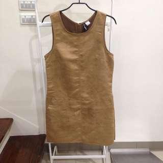 含運)全新 H&M 卡其 咖啡 連身裙 洋裝