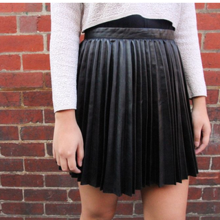 H&M Leather Pleated Skirt