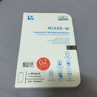 glass-m 鋼化玻璃膜 細邊白色iPhone6