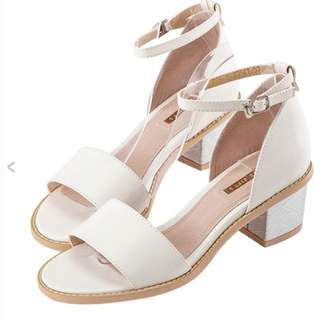 金屬 繫踝 粗跟 涼鞋 Gracegift 22.5