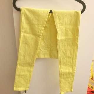 全新 亮黃色 內搭長褲 S號