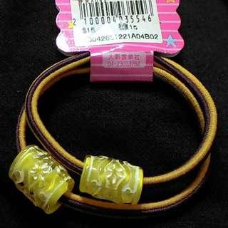 可換物大珠花圖騰髮飾黃色咖啡色雙色髮束
