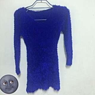 寶藍毛絨貼身長袖T