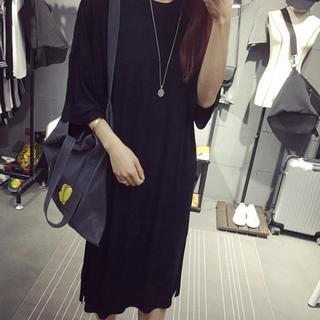 素面素色寬鬆長版棉質休閒洋裝 T恤裙 韓版 (灰色)