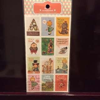愛麗絲郵票貼紙