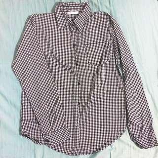 (保留哩)秋冬必備基本款黑白格襯衫