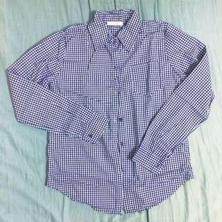 秋冬必備基本款藍白格襯衫