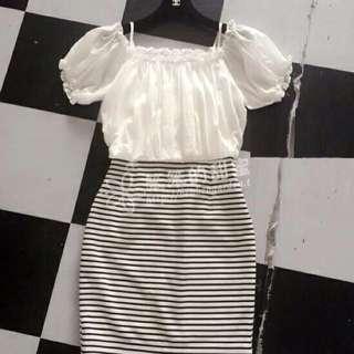 全新洋裝!條紋的裙子修飾身材!