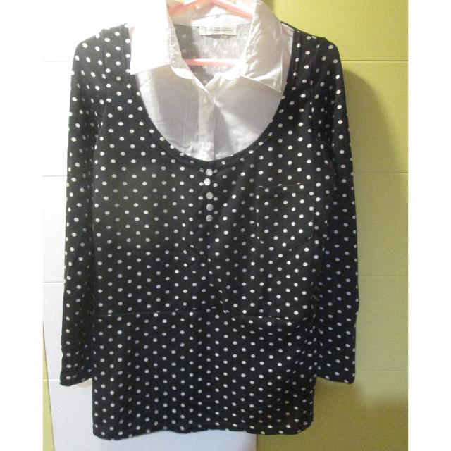 黑白點點兩件式襯衫