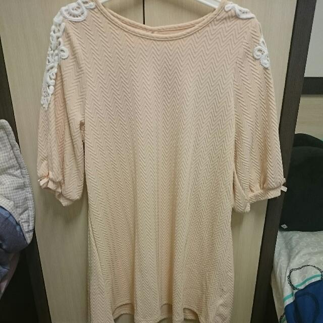 肩拼蕾絲洋裝(粉色)