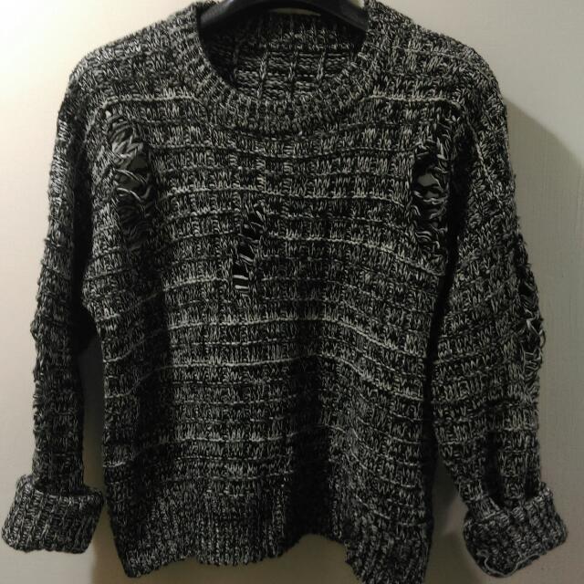 全新時尚短版個性針織毛衣