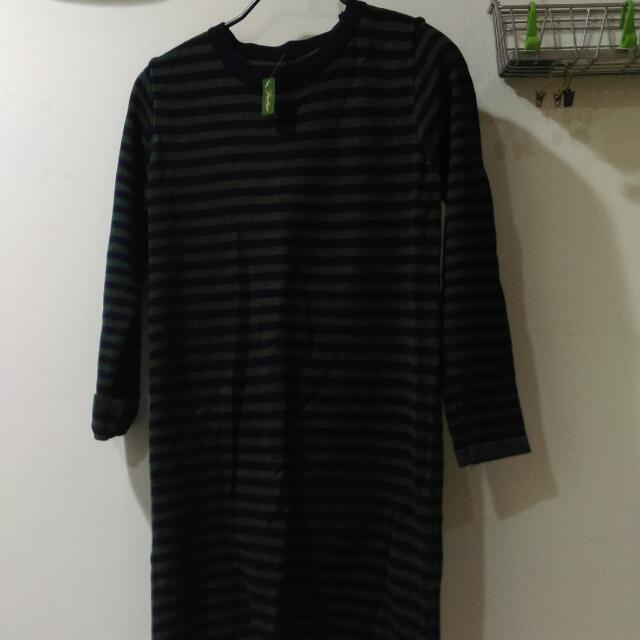 全新綠藍色橫條紋針織長版衣