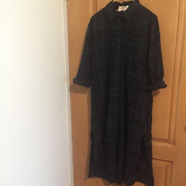全新格紋超長版襯衫外套