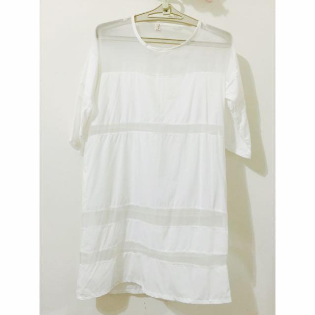 透膚全白柔膚洋裝