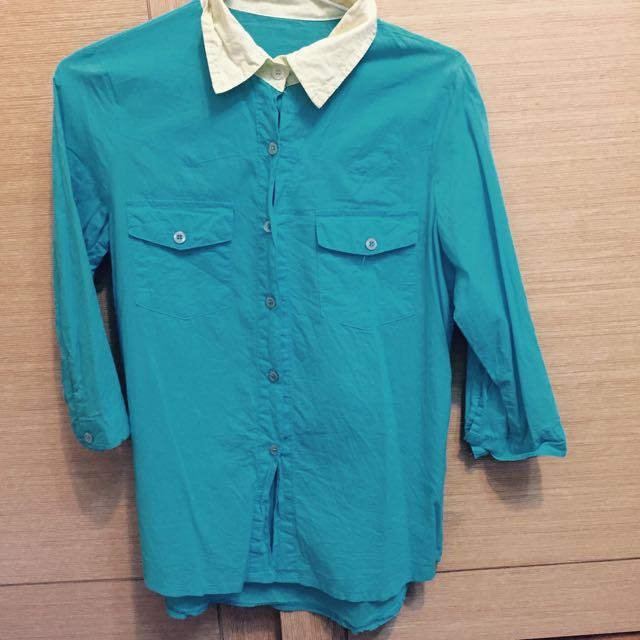 藍綠色撞色襯衫