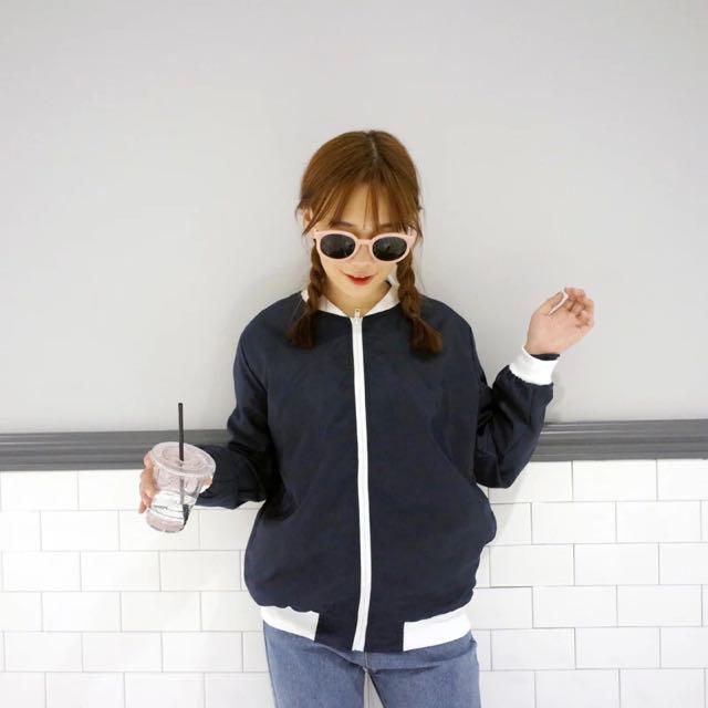 韓版棒球夾克寬飛行外套(深藍)