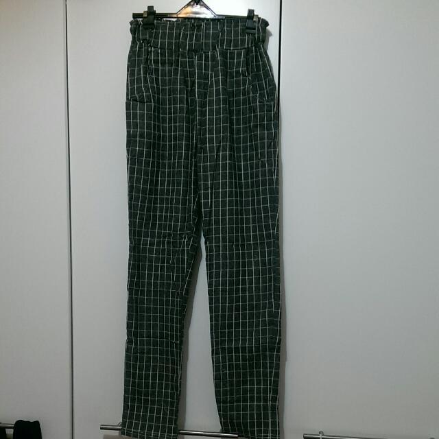 [含運🎉全新] 棉麻復古格子褲-灰