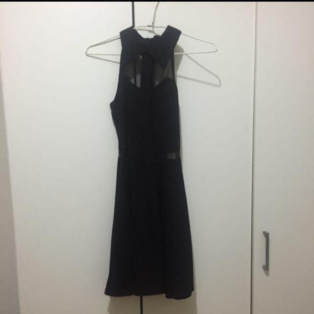 🎀含運。領子 露肩 透膚 黑色洋裝